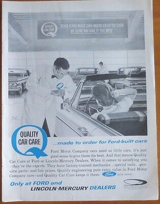FORD Quality Car Care Car Print Ad 1960's Vintage Advertising
