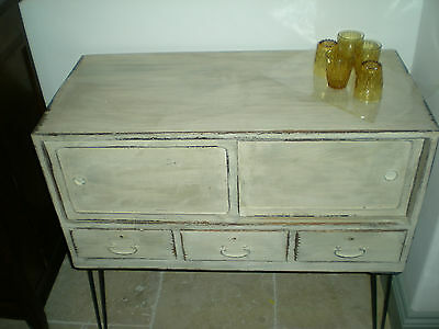 Old Original Shabby Chic Tansu Cabinet on Hair Pin legs