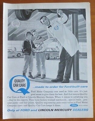 FORD Quality Car Care Car Print Ad 1960's Vintage Advertising Mechanic