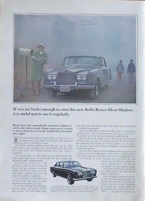 ROLLS ROYCE SILVER SHADOW Print  Ad 1960's Vintage Advertisement Luxury Car