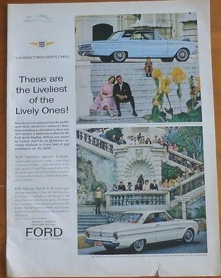 FORD FAIRLINE SPORTS COUPE FALCON SPRINT Print Ad 1960's Vintage Advertising