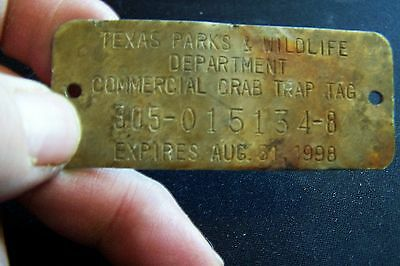 1998 Texas Parks and Wildlife Crab Trap Tag..