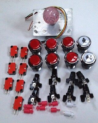 Red Led Ball Top Joystick 6 Red Led Buttons And 2 Led Player Buttons Mame Jamma