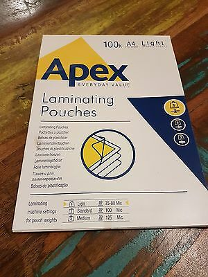 Fellowes Apex A4 Light Duty Gloss Lamination Pouch CRC 60032 Pack of 100