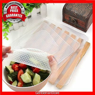 4pcs Reusable Silicone Storage Food Wrapper Containers Seal Cover Stretch Cling