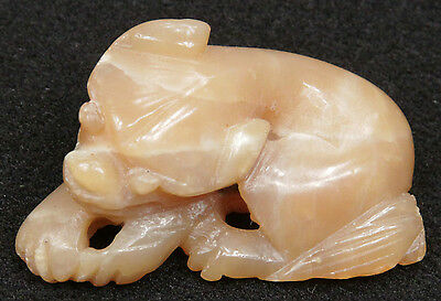 Antique Chinese Qing Dynasty Carved Agate Toggle China Nephrite Jade Jadeite Old
