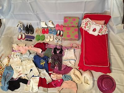 Large Lot of American Girl Doll Clothes, Shoes, Bed, Chair, Accessories