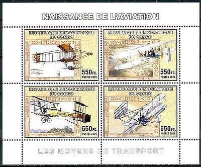 4AV1 - Bloc neuf ** MNH - Congo 2006 - Naissance de l'aviation Airplanes Biplans
