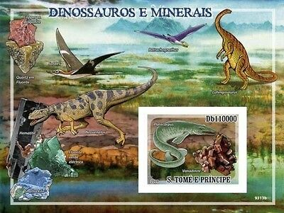Sao Tome 2009 Dinosaurs And Minerals IMPERF S/S ST9313