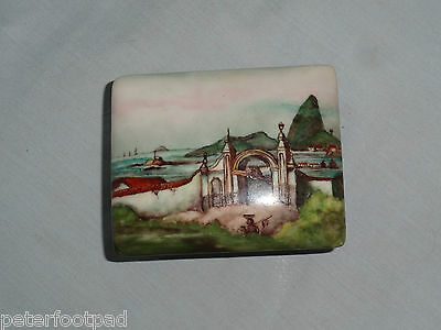 BRAZIL porcelain trinket box : Hand Painted Port of Rio by Marcy Russio