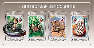 Sao Tome 2015 Poisonous  Snake Cobra Crab Scorpion Snail Octopus S/S/FDC/IM 615