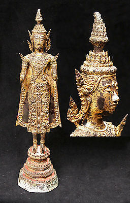 Antique Large Thia Gold Gilt Bronze Rattanakosin Standing Buddha Statue Thialand