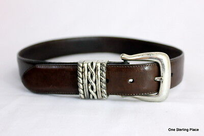 Brighton SZ Small Leather Silver and Brown Western Belt PREOWNED