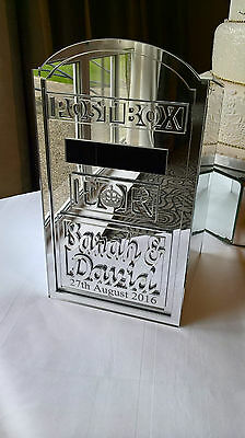 Mirrored  Wedding Post Box,  Flat Pack with ANY Names Acrylic