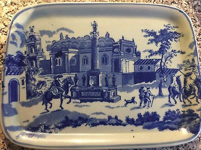 IRONSTONE CHEESE DISH WITH DOME LID Blue Pattern vintage