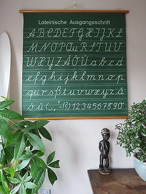 Vintage German Pull Roll Down School Wall Chart The Alphabet Calligraphy Double