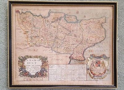 A framed coloured map of Kent by Richard Blome, 1673