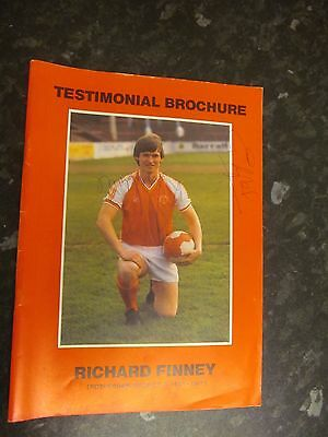 Richard Finney Testimonial Brochure Rotherham United signed by Ronnie Moore and