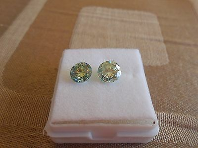 Pair 1.90 CT VVS2 6.65 mm Fiery Green Color Round Cut Loose Moissanite
