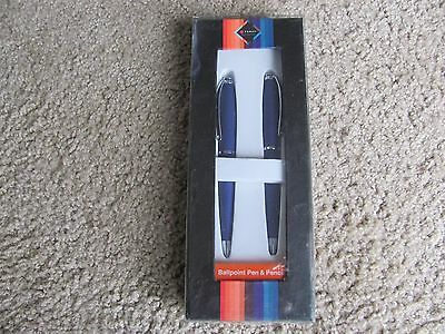 Brand New FORAY Ballpoint Pen and Mechanical Pencil Gift Set Sliver/Blue Barrels
