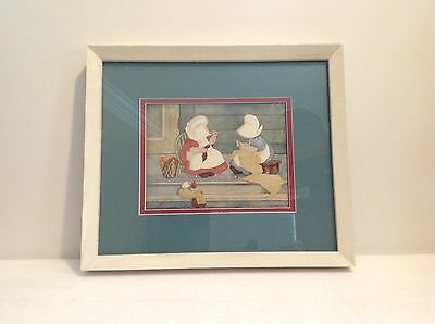 "Sunbonnet Babies Signed Lithograph Print Framed, ""Mending Day"""