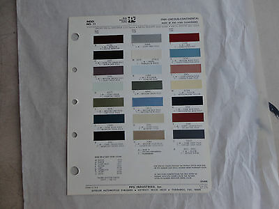 Ditzler paint chip page 1969 Lincoln Continental Mark III & Ford Thunderbird