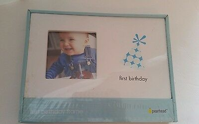 """NEW First Birthday Boy Photo Picture Frame holds 3.5"""" by 3.5"""" Picture Pearhead"""