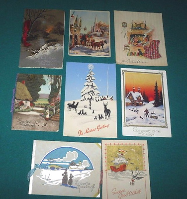 8 Traditional Vintage Christmas Cards