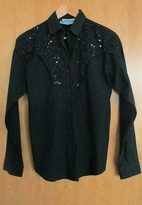 Vintage Black Cowgirl Shirt Sequin Beaded Western Blouse Southwest Canyon - S
