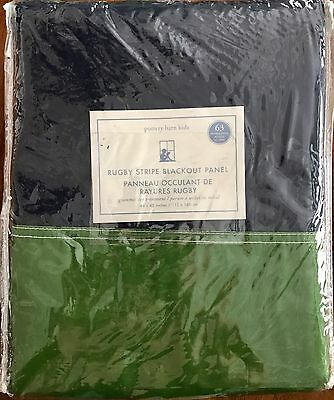 NWT Pottery Barn Kids Navy & Green Rugby Stripe Blackout Panel 44x63