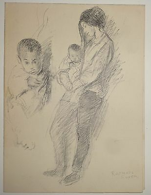 Raphael Soyer - Signed Original Drawing of Woman with Child - Season's Greetings