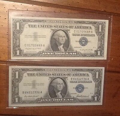 1957 & 1957A One Dollar Silver Certificates Circulated