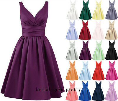 New Short Satin Bridesmaid Homecoming Ball Gown Formal Prom Cocktail Party Dress