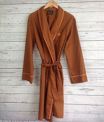 Vtg Dapper Mens Robe Brown Sz L One Size 1970s Dressing Gown Summer Thin