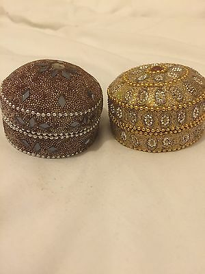 NEW Trinket Boxes Jewellery Box Gold Jewelled Boxes x2