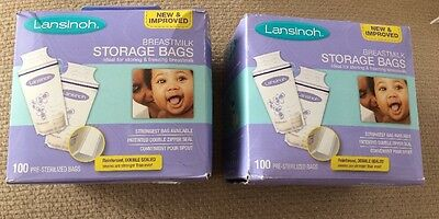 2 boxes Lansinoh Breast Milk Storage Bags, 200 Count