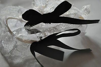 White Lace Loligoth Cuff Wristbands with Black Ribbons