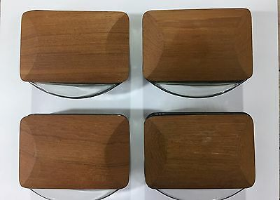 Arne Basse Danish Modern 4 Vintage Smoke Glass / Teak Small Covered Containers