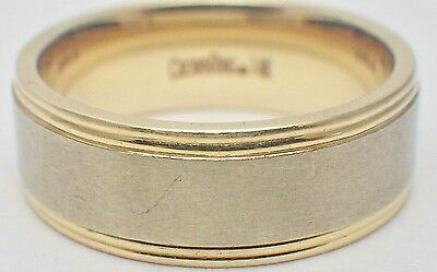 14K Yellow & White Gold Men's Classic Crown Ring Band 8mm Size 10