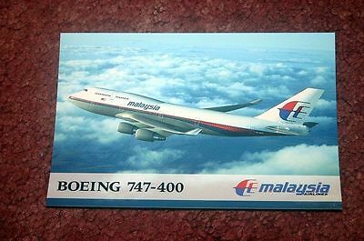 Malaysia Airlines Boeing 747-400 Airline Issue Postcard