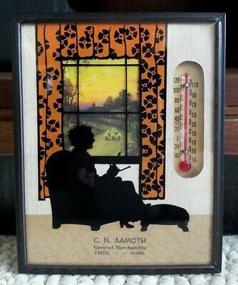 1937 Advertising Silhouette Thermometer Calendar Intact C. N. Aamoth Faith, MN