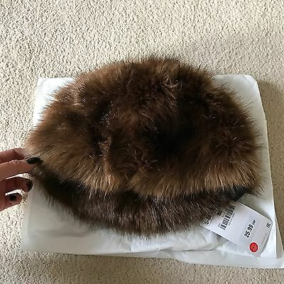 BRAND NEW Zara Brown Faux Fur Winter Hat Size S/M RRP 25 New With Tags