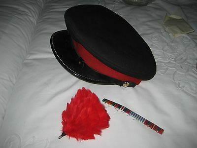 """Blue peaked forage cap / red band. size 7 1/8"""" dated 1957,+ hackle & ribbon bar"""