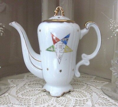 Eastern Star Ceramic OES Hand-Painted Gold Trimmed Teapot #K-123