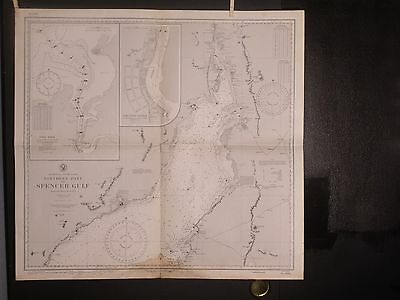 WWII Era Nautical Chart 2095 South AUSTRALIA Northern Part of Spencer Gulf