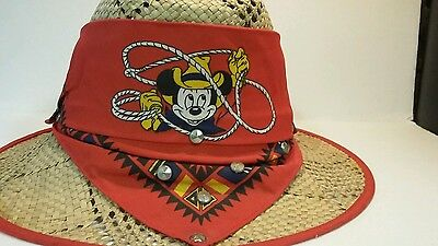 Vintage Disney Mickey Mouse Character Fashions Kids Child's Straw Hat USA
