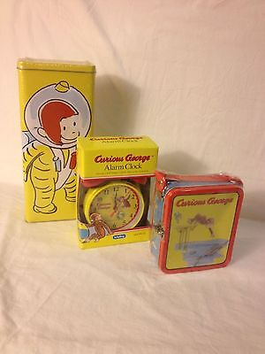 CURIOUS GEORGE Lot Alarm Clock By Schylling, Large Canister, Small Box NIB