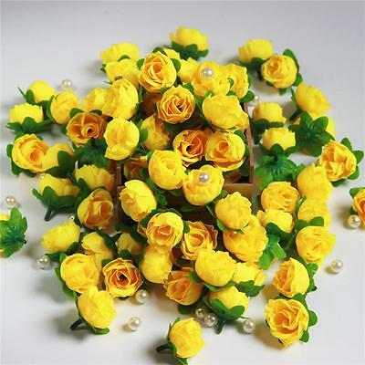 50pcs Rose Artificial Silk Flower Heads Wholesale Lots Wedding Decor Yellow Gift