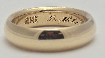Vintage 14K Yellow Gold Men's Ring/Band Engraved 6MM Wide Size 9 3/4