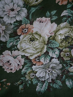 Vintage 1950s Sanderson ? cabbage rose green linen fabric curtains.